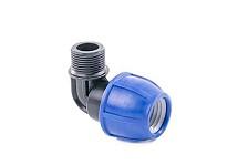 Угол 90 компрессионный с резьбой PE D25x1/2 M